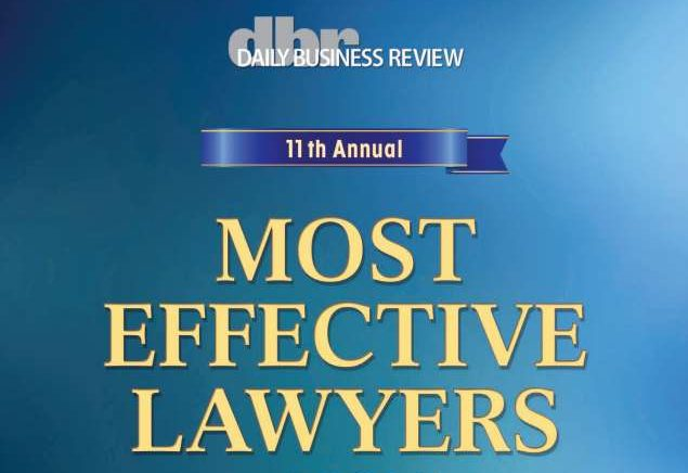 DBR Most Effective Lawyers 2015 plaque image