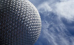 Image of Epcot sphere in front of blue sky in Orlando, Florida